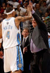 Nuggets Coach George Karl Exchanges an Elevated Hand Slap With Terrible Bigot Kenyon Martin